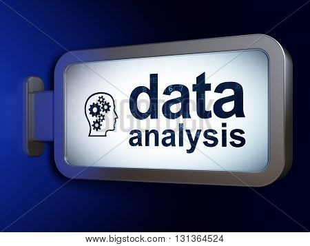 Information concept: Data Analysis and Head With Gears on advertising billboard background, 3D rendering