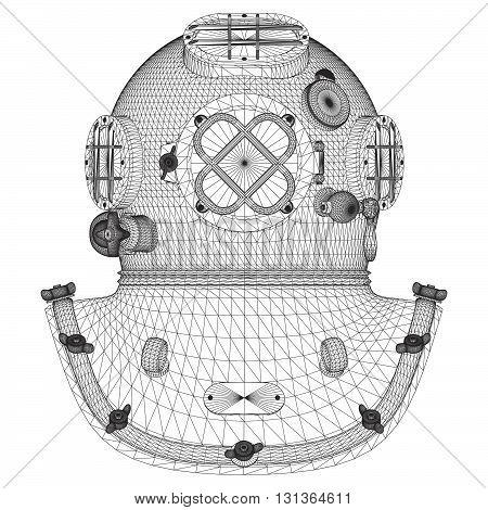 Vintage Retro Underwater Diving Helmet Illustration Vector
