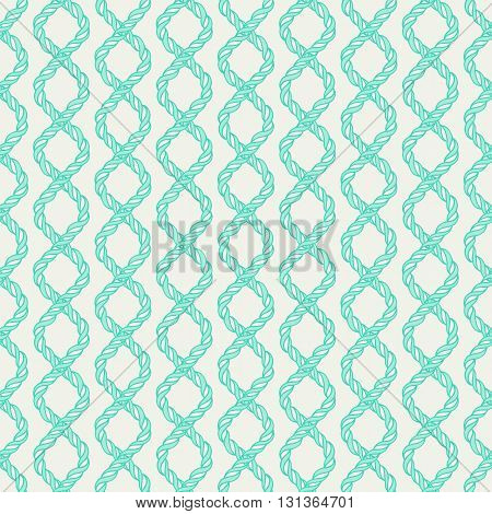 Decorative spiral rope seamless pattern. Endless illustration with green twisted cord ornament on white backdrop, ornamental crossing ribbon. Trendy background. For fabric, wallpaper, wrapping.