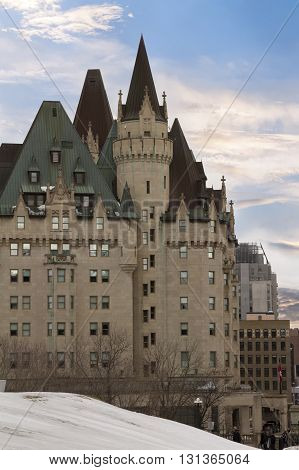 Ottawa, Canada - February 05, 2016: View Of Fairmont Chateau Laurier From The Parliament Hill, Ottaw