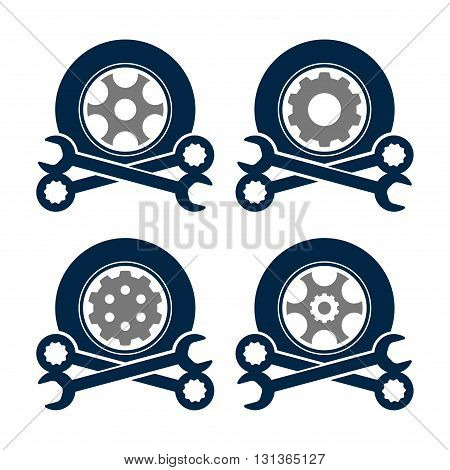 Symbol of Car Tire Wheel Wrench Service