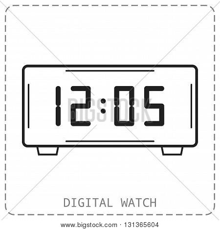 Electronic watch. Flat linear icon isolated. Vector object, illustration