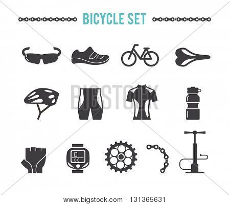 bicycle equipment and accessories, vector set
