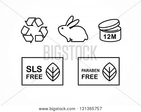 Set of natural cosmetics design packaging elements, icons