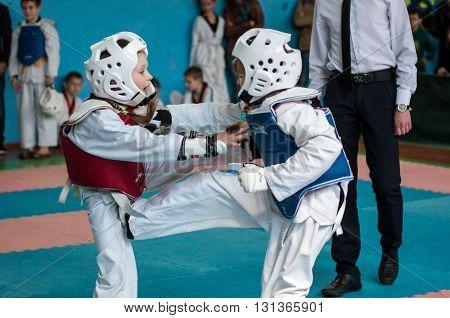 Orenburg, Russia - 23 April 2016: Taekwondo Compete Girls.