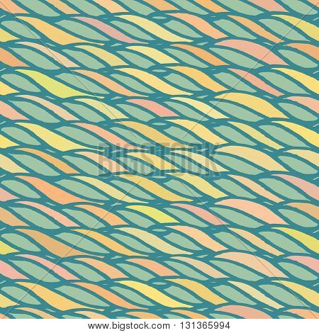 Decorative spiral seamless pattern. Endless illustration with yellow twisted horizontal rope ornament on green backdrop, ornamental ribbon lines. Trendy wave background. Fabric, wallpaper, wrapping