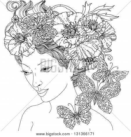 Uncoloured woman and butterfly for adult coloring book in famous zenart art-therapy antistress style. Hand-drawn, retro, doodle, vector, mandala style, uncoloured for coloring book or poster design.