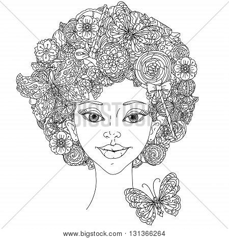 Uncoloured woman and butterfly for adult coloring book in famous zenart art-therapy antistress style.