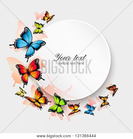 Beautiful butterfly background and gift card. Vector.