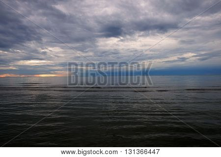 sea at  the sky's overcast in pranburi,thailand