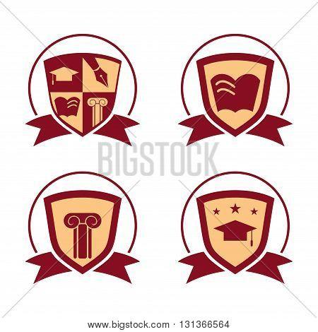 Logo of Education Symbol Shield Ribbon Badge