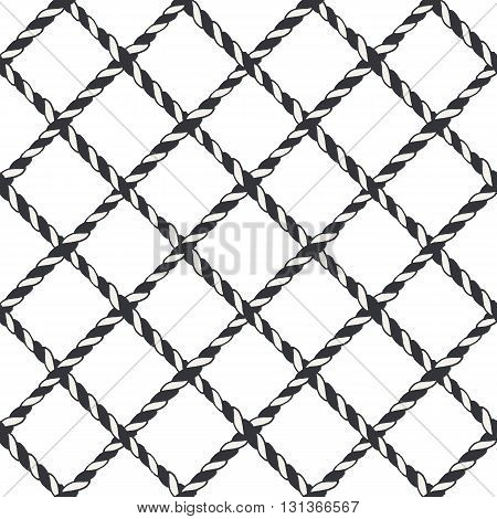 Nautical crossed rope seamless pattern. Endless navy illustration with blue fishing net ornament and crossing cord on white backdrop. Trendy maritime style background. For fabric, wallpaper, wrapping