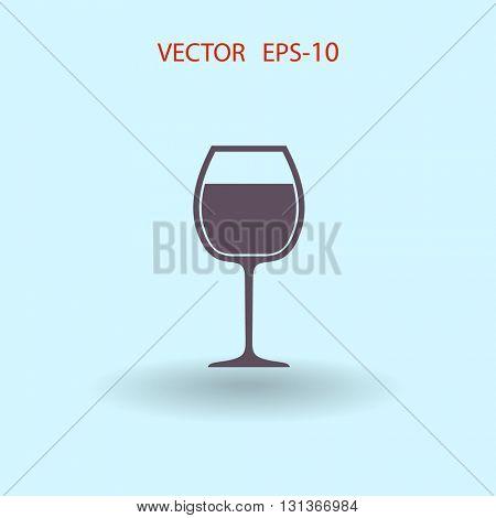 Flat a wine glass icon