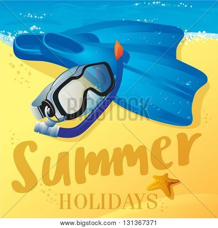 Summer holidays. Diving equipment. Vector mock up.