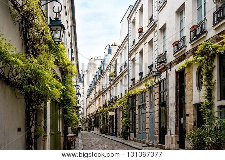 Antique city buildings in Paris, France, Europe.