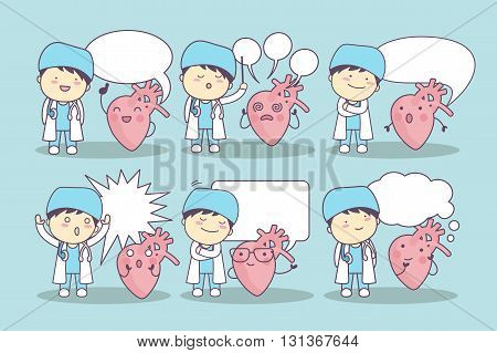 cartoon heart and doctor with speech bubble great for your design