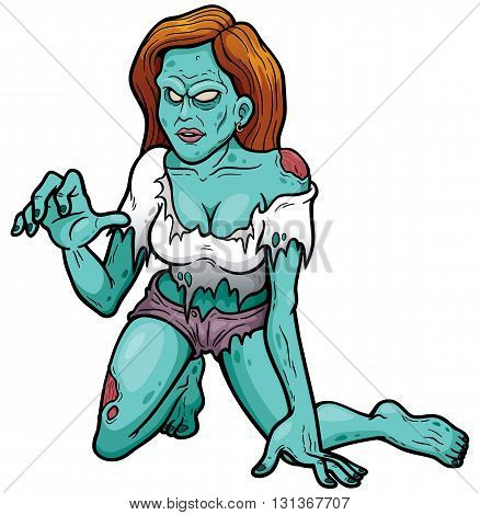 Vector illustration of Cartoon Female zombie character