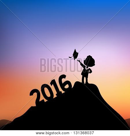Cartoon Silhouettes of excited happy college graduate student on the top of mountain with 2016 text