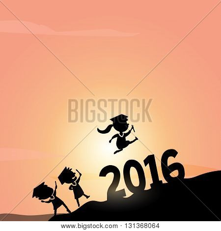 Cartoon Silhouettes of excited happy college graduate student jump over 2016 year on the top of mountain