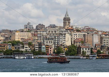 ISTANBUL TURKEY - JULY 11 2015 : Beyoglu district historic architecture and Galata tower medieval landmark over the Golden Horn in Istanbul Turkey