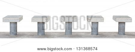 bus station seats with terrazzo floor on top on concrete floor isolated on white background with clipping path