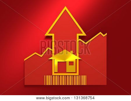 House icons and rise up arrow. Growth diagram and bar code. Relative for real estate business. 3D rendering