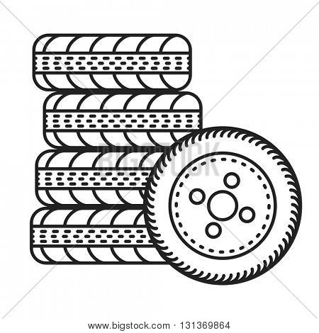 minimalistic illustration of car tires, eps10 vector