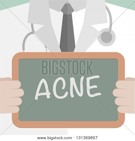 minimalistic illustration of a doctor holding a blackboard with Acne text, eps10 vector