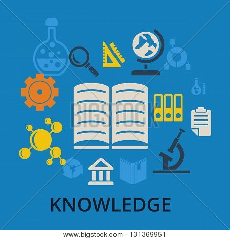 Knowledge concept. Open book and icons of science. Set of vector knowledge icons and books on blue background.