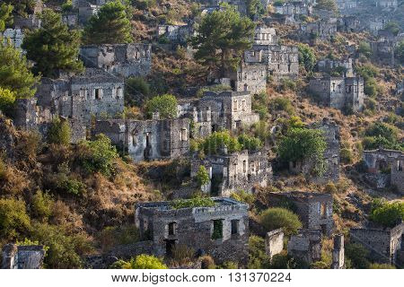 Empty Houses in Kayakoy Ghost Town Turkey