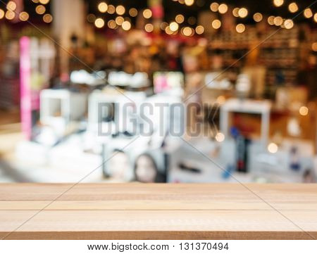Wooden Empty Table And Blurred Background Store