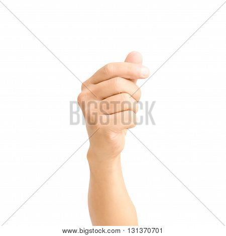 human hand hold up isolated on white background with clipping path