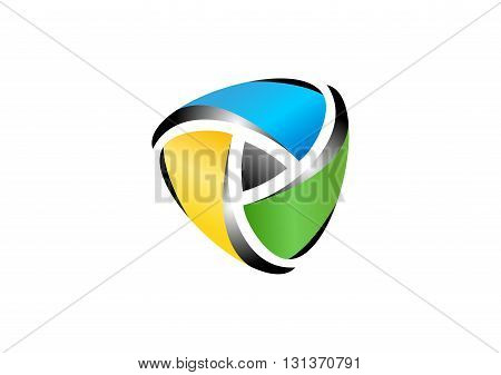 connection network media logo, abstract technology modern business symbol icon vector design.