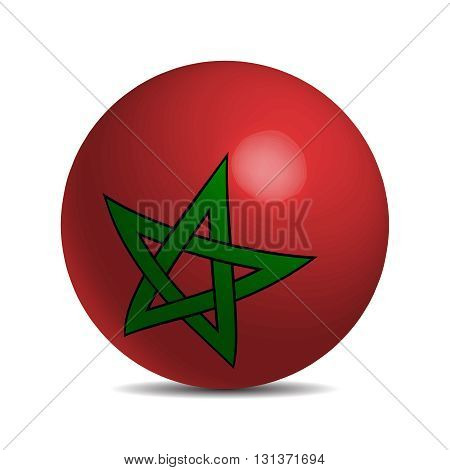 Moroco flag on a 3d ball with shadow, vector illustration