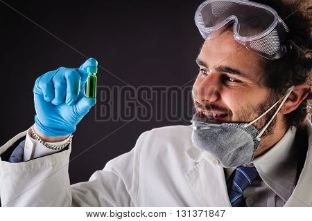 Looking At A Green Vial
