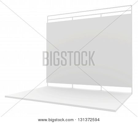 Blank exhibition stand. 3d render isolated on white background.