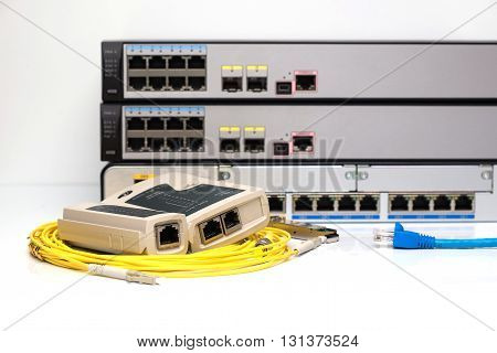 Network Tester On Fiber Optic Cable