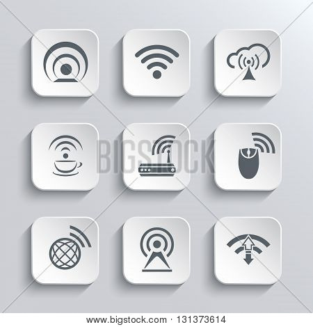 Wireless and Wi-Fi Web Icons Set for Remote Access and Communication Via Radio Waves - Vector White App Buttons Design Element With Shadow. Trendy Design Template