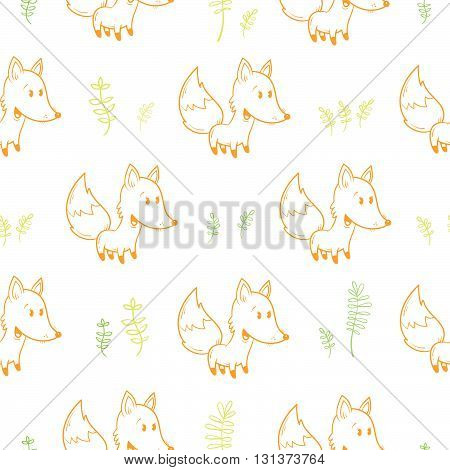 Seamless pattern with cute cartoon foxes and plants on white  background. Funny forest animals. Vector image. Children's illustration.