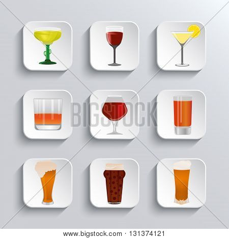 Alcohol and beer web icons set. Alcohol glass and beer label. Beer cups silhouette. Alcohol drink beer sign beer pub alcohol. Vector white app buttons design element with shadow. Trendy design template