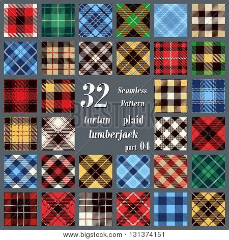 Set plaid tartan seamless pattern. Lumberjack flannel shirt inspired. Seamless tiles. Trendy hipster style backgrounds. Vector illustration