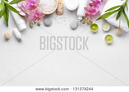 Towel,orchid flowers,bamboo leaf and cosmetics