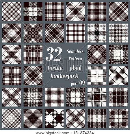 Black and white set plaid tartan seamless pattern. Lumberjack flannel shirt inspired. Seamless tiles. Trendy hipster style backgrounds. Vector illustration
