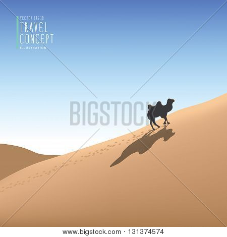 Illustration vector travelling by camel in the desert the animals live in the desert.