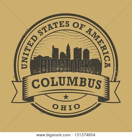 Grunge rubber stamp or label with name of Ohio, Columbus, vector illustration