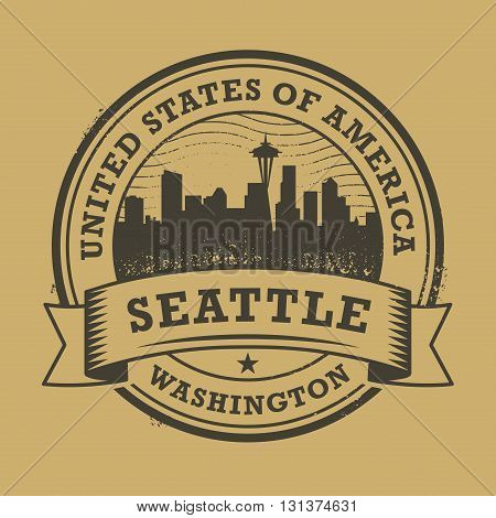 Grunge rubber stamp or label with name of Washington, Seattle, vector illustration