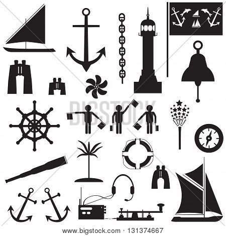 Set of icons on the theme of travel by sea. Vector illustration
