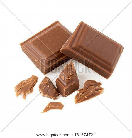 Pieces of chocolate bar isolated on white background