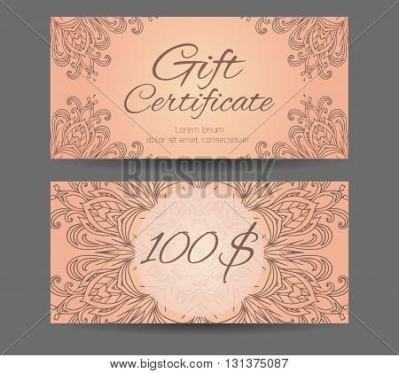 Template gift certificate for yoga studio spa center massage parlor beauty salon. Abstract pattern mandala