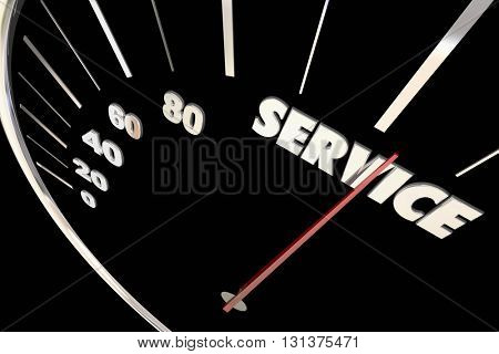 Service Top Responsive Speed Great Attention Words Speedometer 3d Ilustration